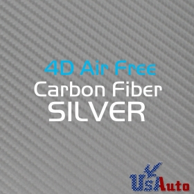 "120""x59"" Wrap Vinyl Film Carbon Fiber Silver 4D For Car Console Panel Roof Trunk"